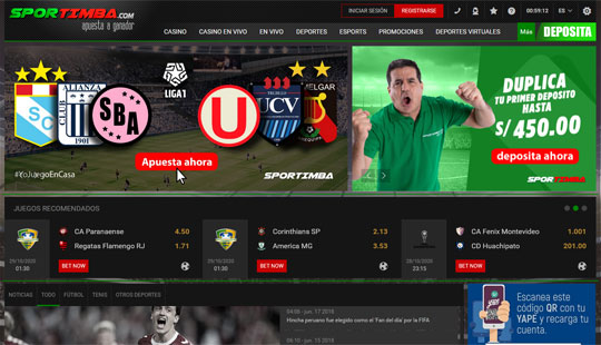 Página de Sportimba Perú